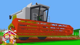 How a Combine Harvester and a Tractor with a Green Trailer Work - Animated Farm Simulation