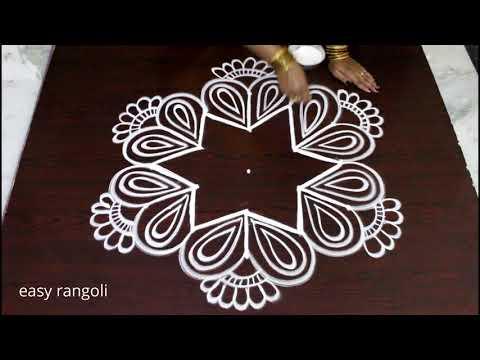 creative easy rangoli by Suneetha || beautiful kolam designs with 5 dots || Latest muggulu