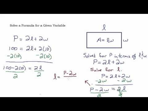 Solve a Formula for a Given Variable