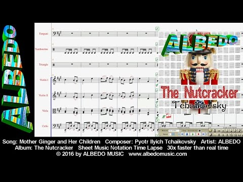Sheet Music Notation Time Lapse. ALBEDO The Nutcracker. Mother Ginger and Her Children. Tchaikovsky.
