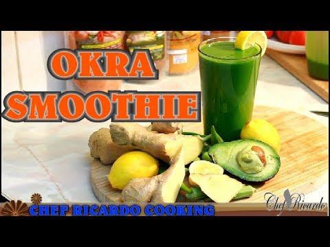Okra Smoothie With Fresh Spinach Avocado Ice Ginger Lemon Honey | Recipes By Chef Ricardo