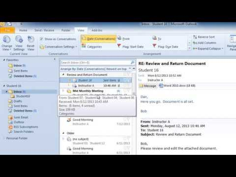 How to Show your Email in Conversation View in Outlook 2010