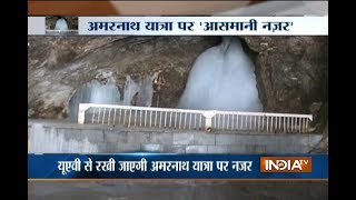 Massive security with drone cameras deployed for security of pilgrims during Amarnath Yatra