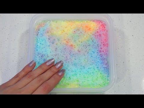 Making Rainbow Bubble Slime | Super Satisfying Crispy Tie-Dye Slime!