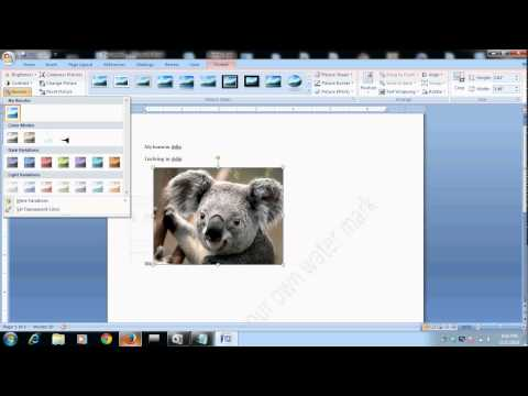 how to set transparent image in microsoft word document 2007