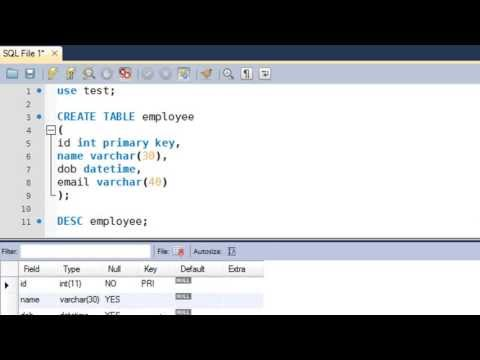 SQL Tutorial - 9: Create Table Statement