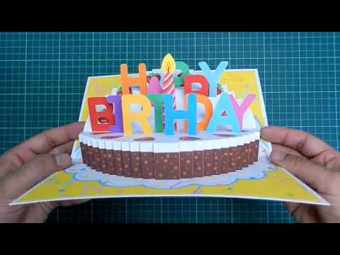Happy Birthday Cake Pop Up Card Tutorial Part II (Candle Version)