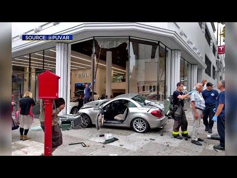 Car Crashes Into Tesla Dealer In San Francisco
