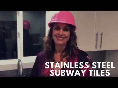 Stainless steel subway tiles for backsplash here