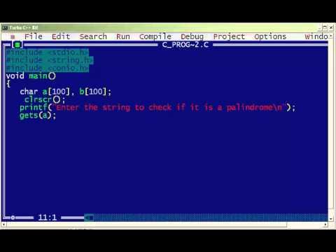 C program for palindrome string