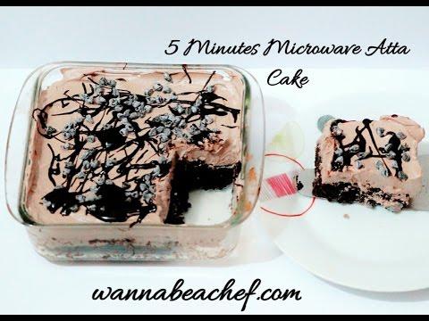 5 Minutes Eggless Microwave Atta Cake Recipe(whole wheat Microwave cake)