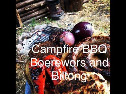 Bushcraft Campfire BBQ Boerewors and Biltong