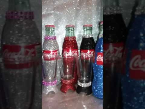 Custom Bedazzled glass soda bottle souvenirs