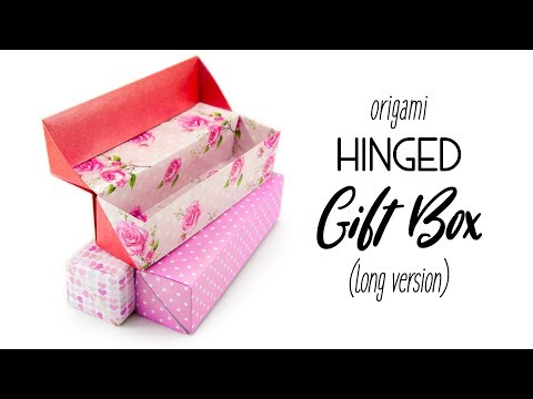 Origami Long Hinged Gift Box Tutorial - Paper Kawaii