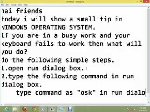 onscreen keyboard shortcut in windows
