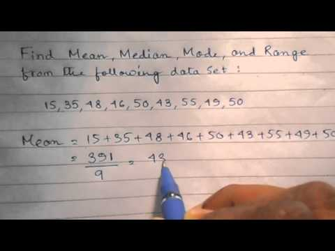 Calculation of Mean, Median, Mode, and Range of the following Data Set