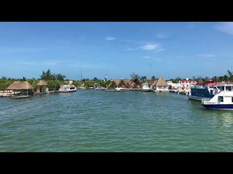 Arriving to island Holbox on a ferry