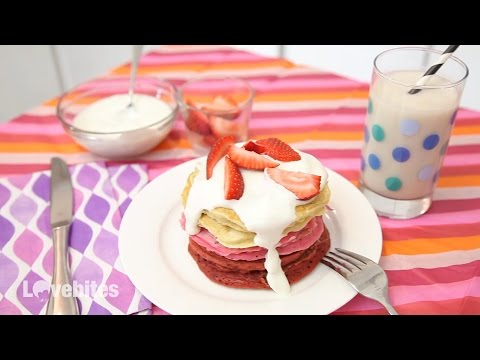 SWEETHEART STACK (RED VELVET, STRAWBERRY & VANILLA PANCAKES WITH CREAM CHEESE FROSTING)