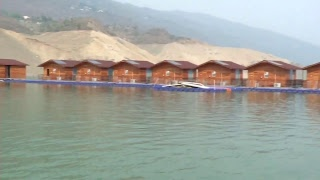 Catch a glimpse of manganimous floating huts , Live form Tehri Lake Festival