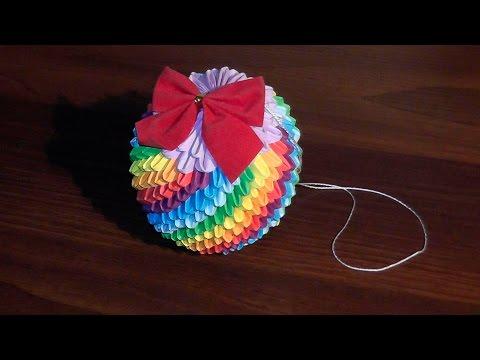 3D origami Christmas ball (bauble, toy) rainbow ☃ tutorial