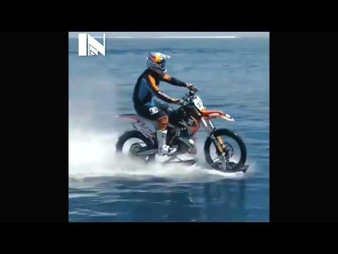 Video Lucu - MotoCross berjalan di air dan berselancar dilaut
