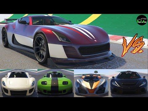 GTA 5 Top Speed Drag Race (Coil Cyclone vs. Voltic, X80, Vagner, T20, 811, Banshee, XA-21, etc.)