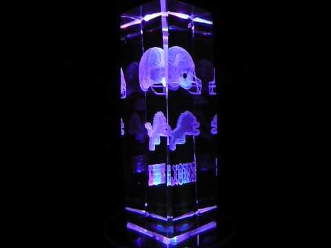 NFL Detroit Lions 3D Laser Etched Crystal - 6 Inch -
