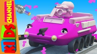 Cartoon car garage coloring video for kids and children