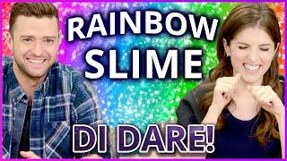 DIY NEON RAINBOW SLIME?! Di Dare w/ Justin Timberlake and Anna Kendrick