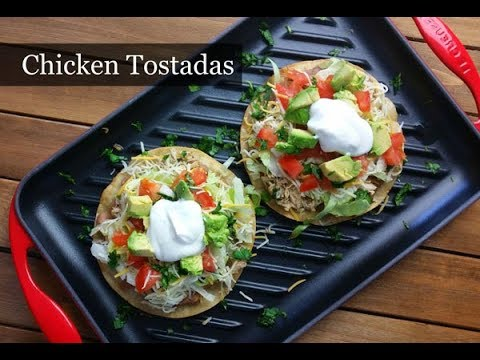 How to Make Chicken Tostadas ~ Green Chile Chicken Tostadas ~ Amy Learns to Cook