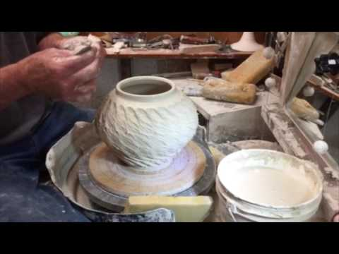 Tim Havens making pottery with a roulette wheel