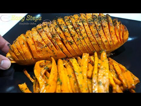 Oven Baked Garlic Flavored Sweet Potatoes Fries