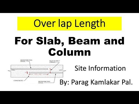 Over lap length for slab, beam and for column
