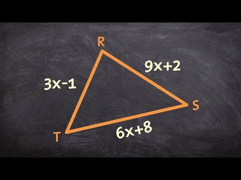 Given an isosceles triangle, find the measure of all of the side lengths