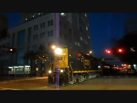 CSX Street Runner Train Through Downtown Tampa Florida