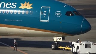Vietnam Airlines Boeing 787-9 VN-A865 Pushback and Takeoff [NRT/RJAA]
