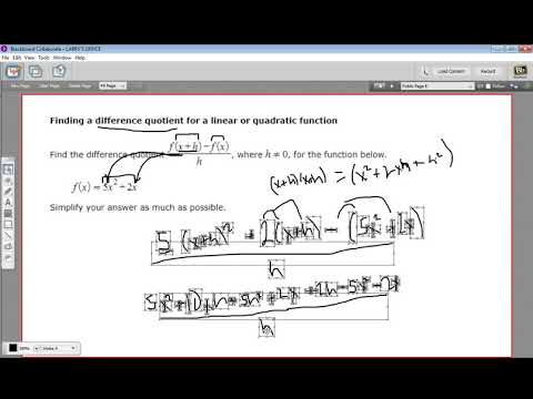 Finding a difference quotient for a linear or quadratic function