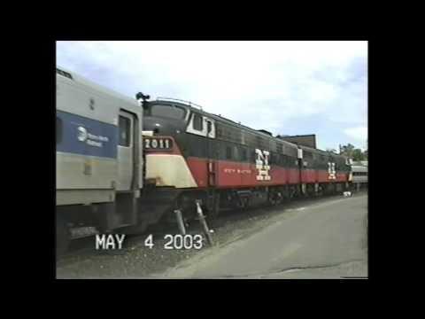 NEW HAVEN TWIN FL9's on CONNDOT train in Danbury,CT May 4 2003