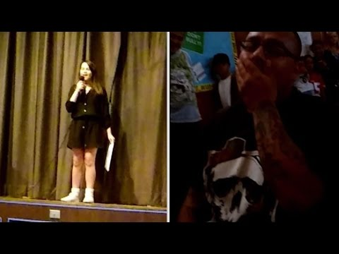 12-Year-Old Girl Asks Stepdad To Adopt Her With Song at School Talent Show