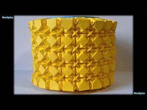 Square Rhombus and Waterbomb  Tessellations Cylinder