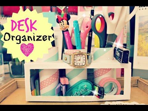 DIY Crafts: A Desk Organizer/Pencil Holder(Portalápiz), Milk Cartons,TP Rolls