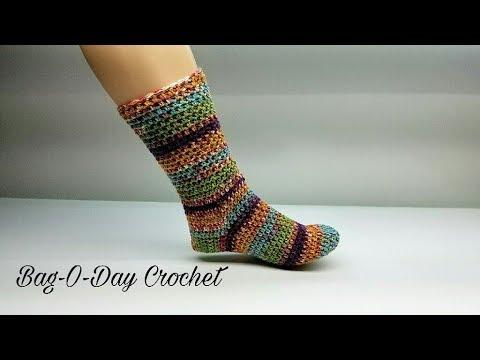 HOW TO CROCHET - CROCHET SOCKS | The Perfect Pair adjustable sock | BAGODAY CROCHET Tutorial #463