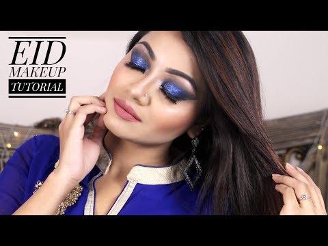 EID MAKEUP 2018 | Glittery Blue Smokey Eye Makeup Tutorial - Makeup Maniac By Linda