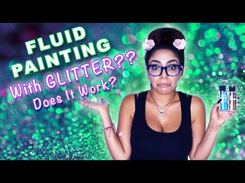 Fluid Acrylic Pouring Tutorial - NO MEDIUM only WATER! GLITTER TEST