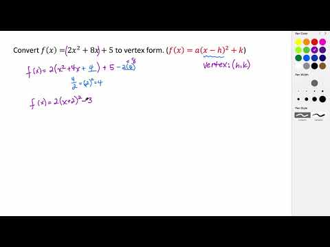 Converting a Quadratic from Standard Form to Vertex Form