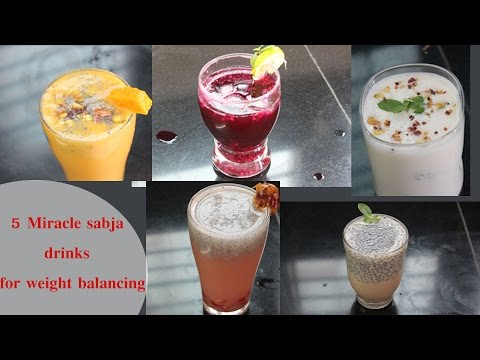 5 weight lose sabja drinks / fat cutter drinks / summer coolers / refreshing summer drinks