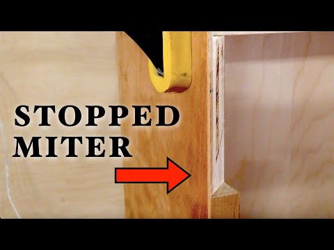 How to Cut a Stopped Miter - Woodworking Tool Cabinet part 2
