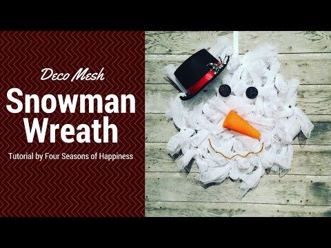 How to make a snowman deco mesh wreath, simple snowman deco mesh wreath,