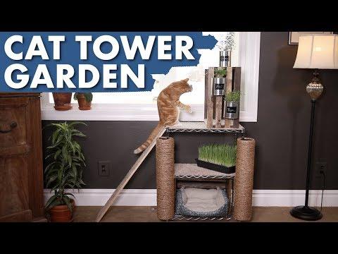 DIY Cat Tower Garden 🌿🐈💚 // Garden Answer