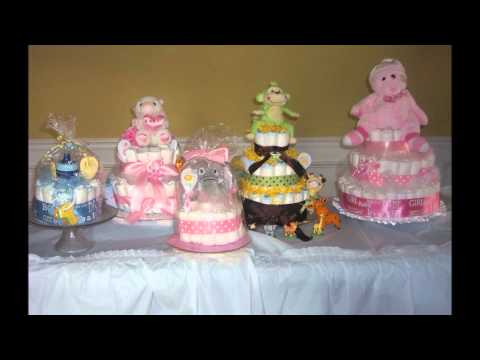 Baby Diaper Cakes and Washcloth Favors